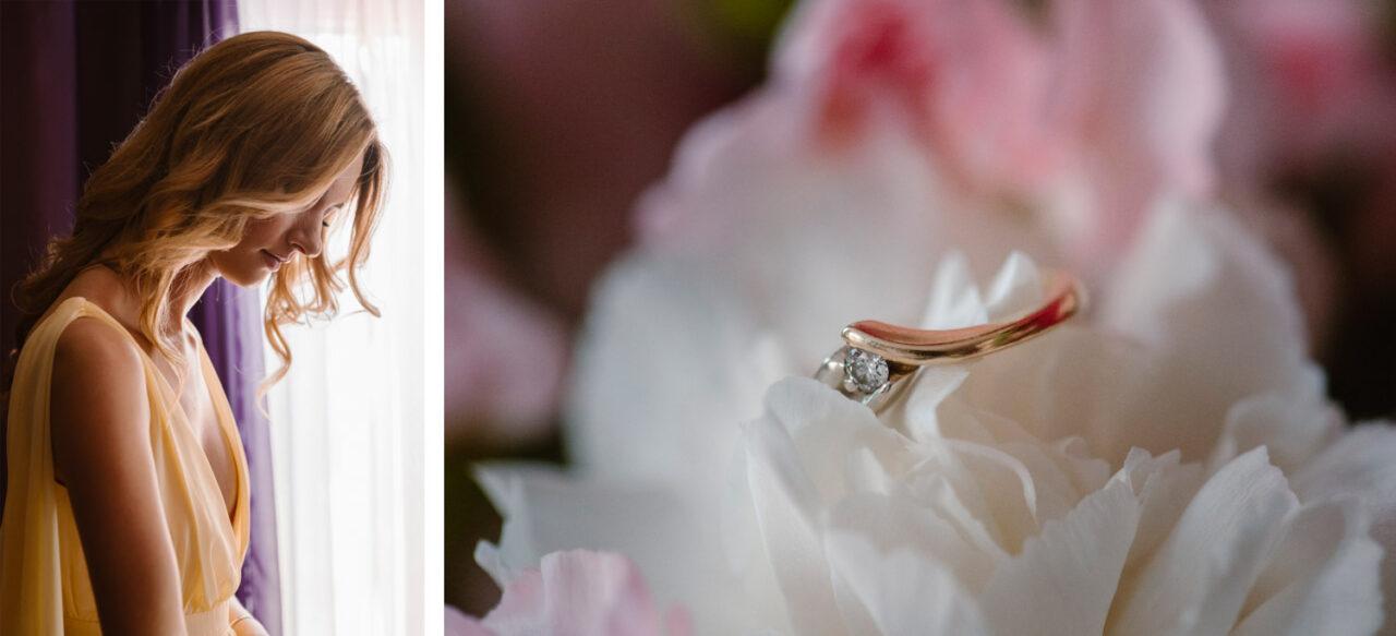 portret kobiety i złoty pierścionek zaręczynowy