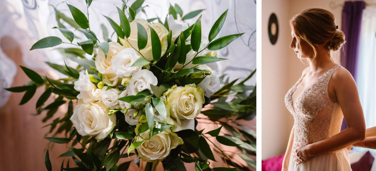 portret panny młodej oraz bukiet ślubny