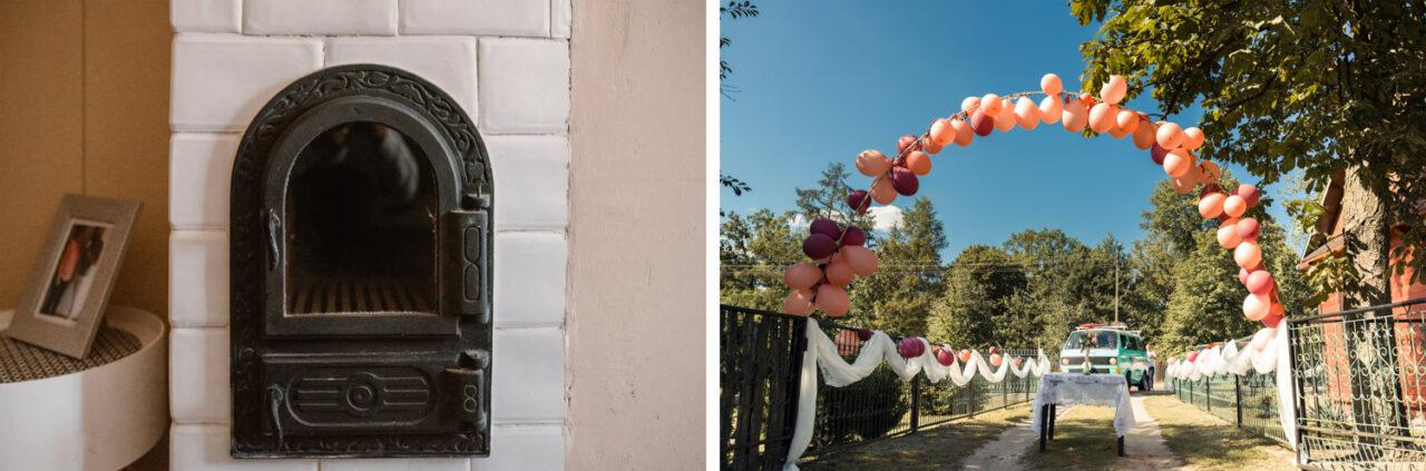 weselna brama i drzwiczki pieca kaflowego