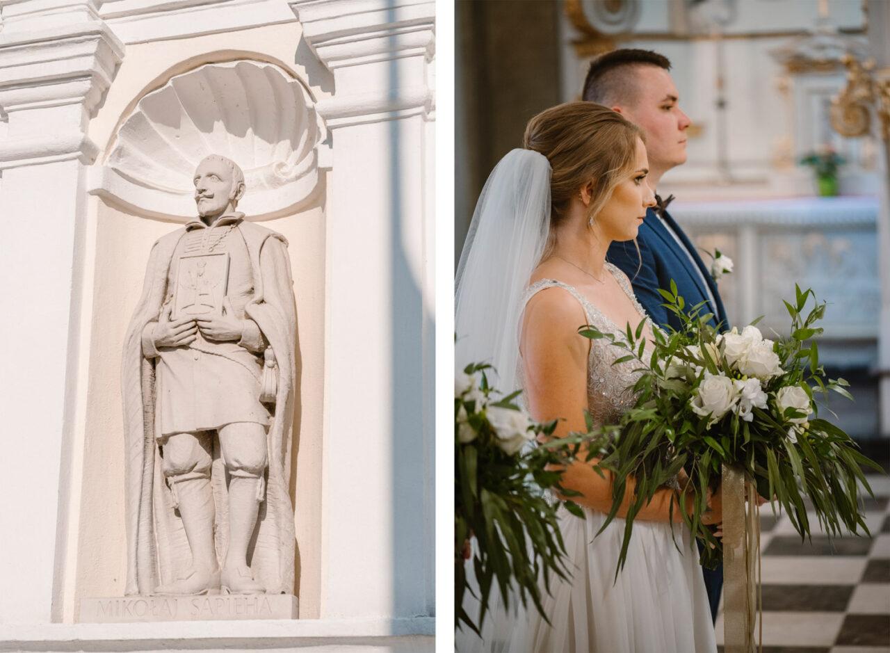 portret pary młodej i rzeźba z kościoła