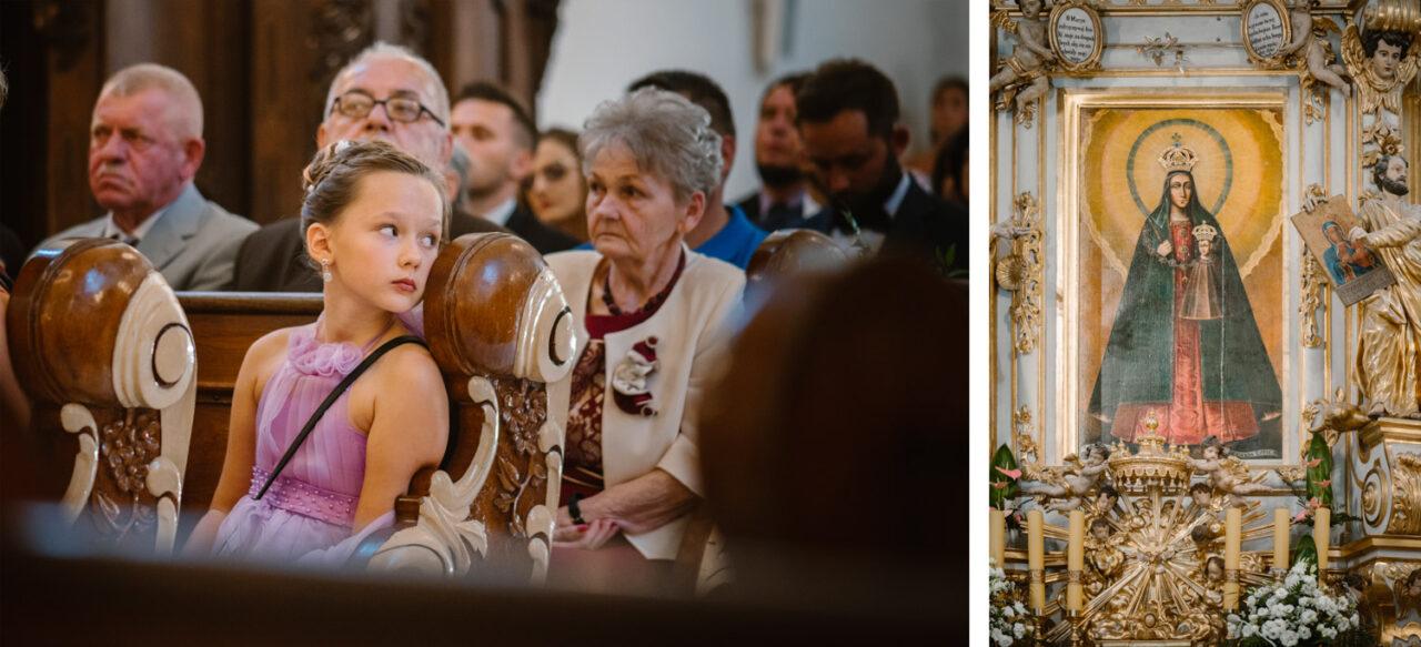 obraz matki Bożej Kodeńskiej i portret gości ślubnych