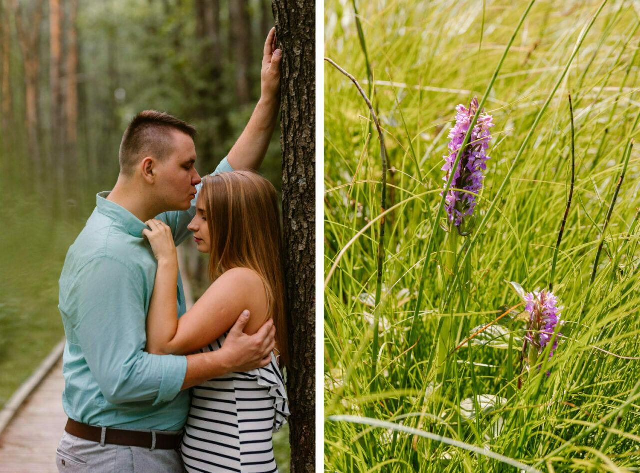narzeczeńska sesja w parku narodowym - zakochani i kwiaty
