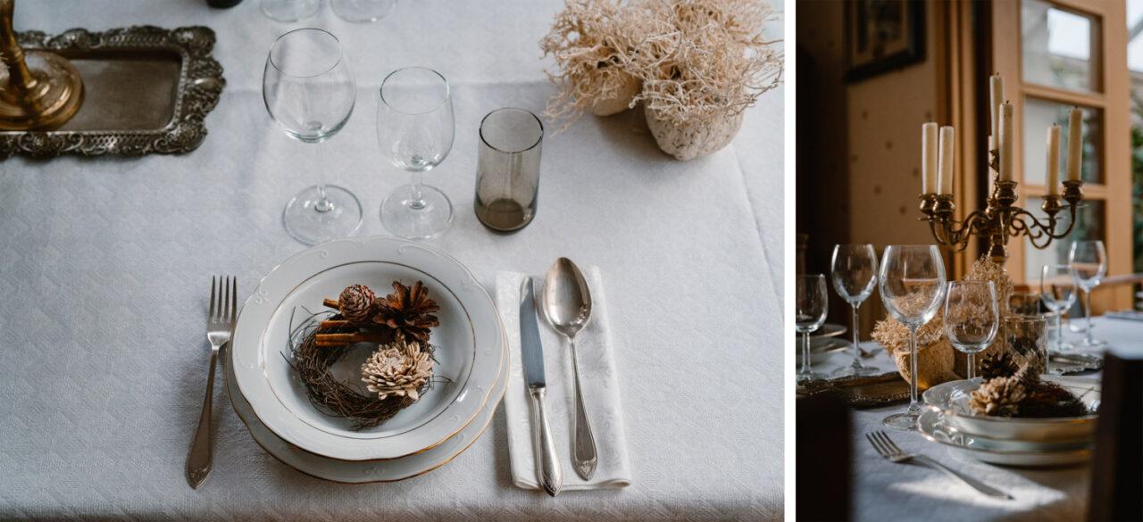 przyjęcie weselne w domu - dekoracje stołu