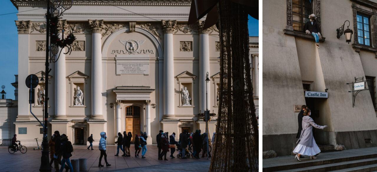 para młoda i fasada kościoła akademickiego Anny w Warszawie