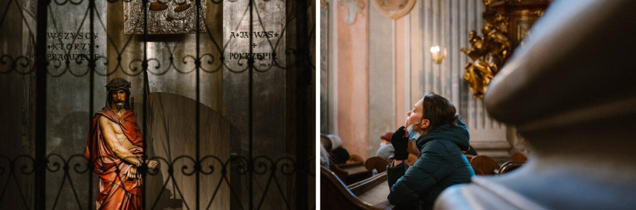 figura Chrystusa i kobieta modląca się w kóściele