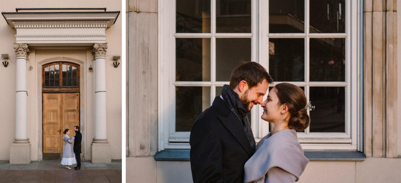 sesja pary młodej w dniu ślubu na warszawskim starym mieście