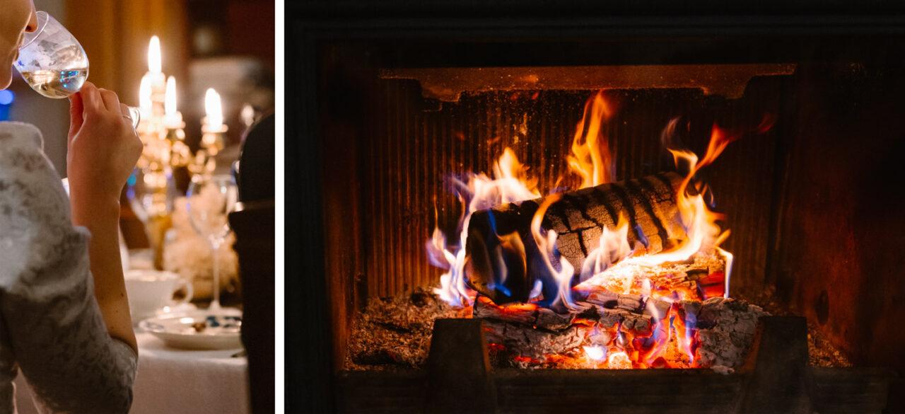 ogień w kominku oraz weselny toast