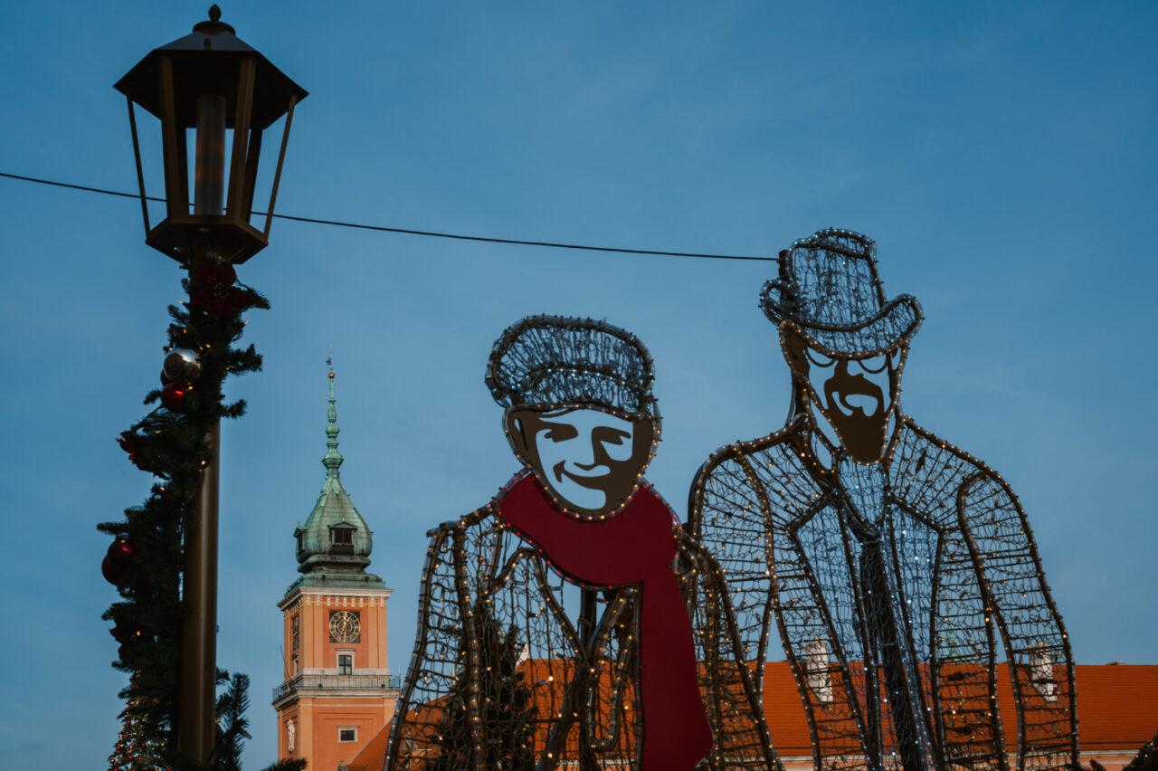 iluminacja świąteczna starego miasta w Warszawie