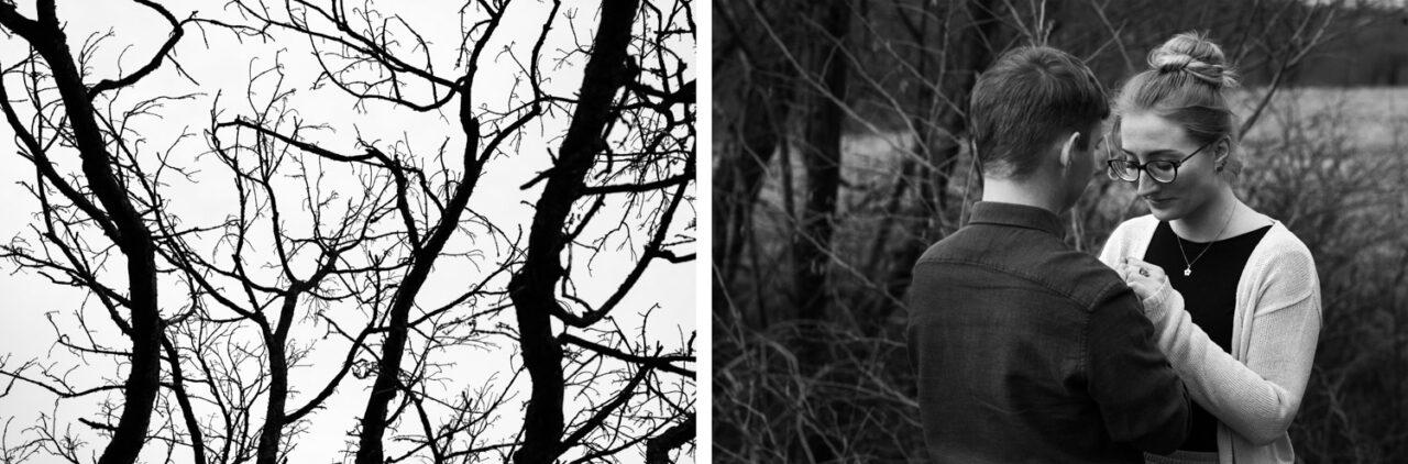 para narzeczeńska trzyma się za ręce na tle jesiennych drzew
