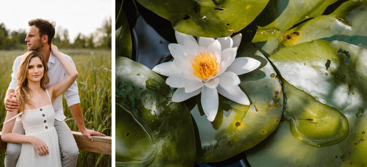 narzeczeni na tle zarośli oraz lilia wodna