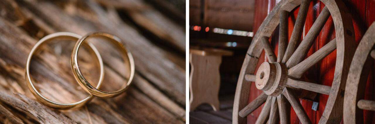 złote obrączki i drewniane koła