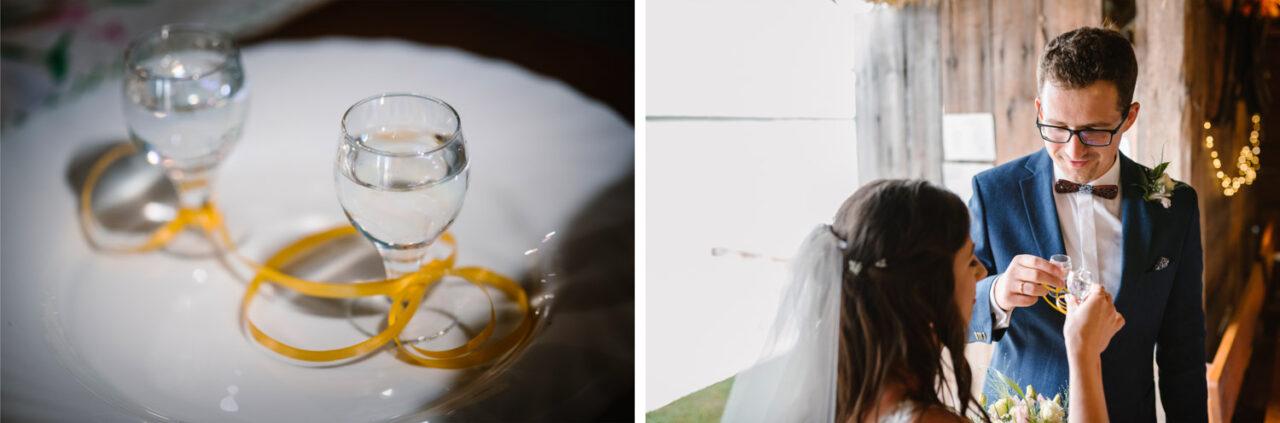kieliszki weselne i para młoda