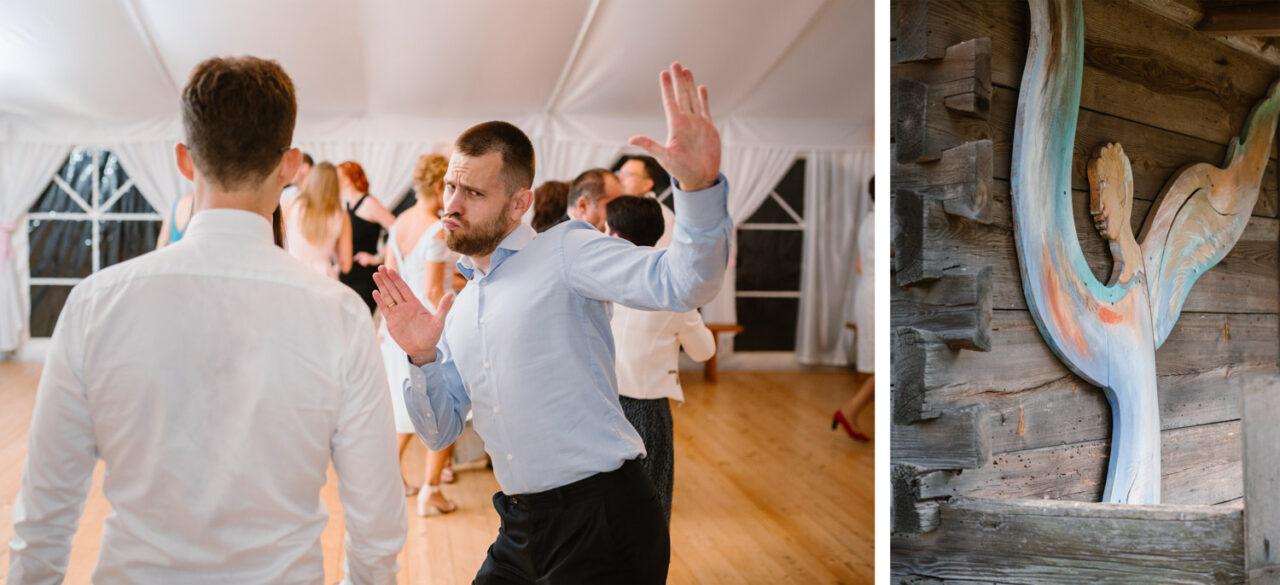 goście tańczą na weselu rustykalnym