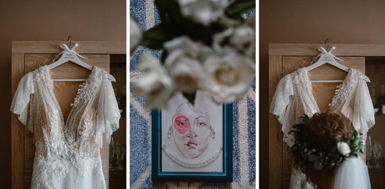 detale ślubne i suknia ślubna panny młodej