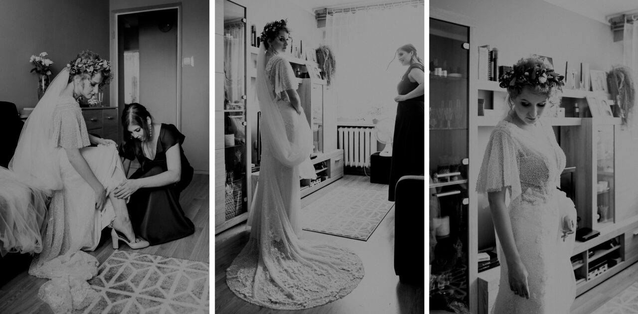 panna młoda zakłada suknię ślubną
