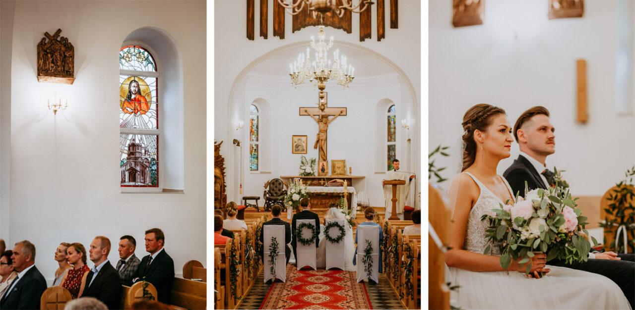 stylowy ślub w kościele w Suchawie