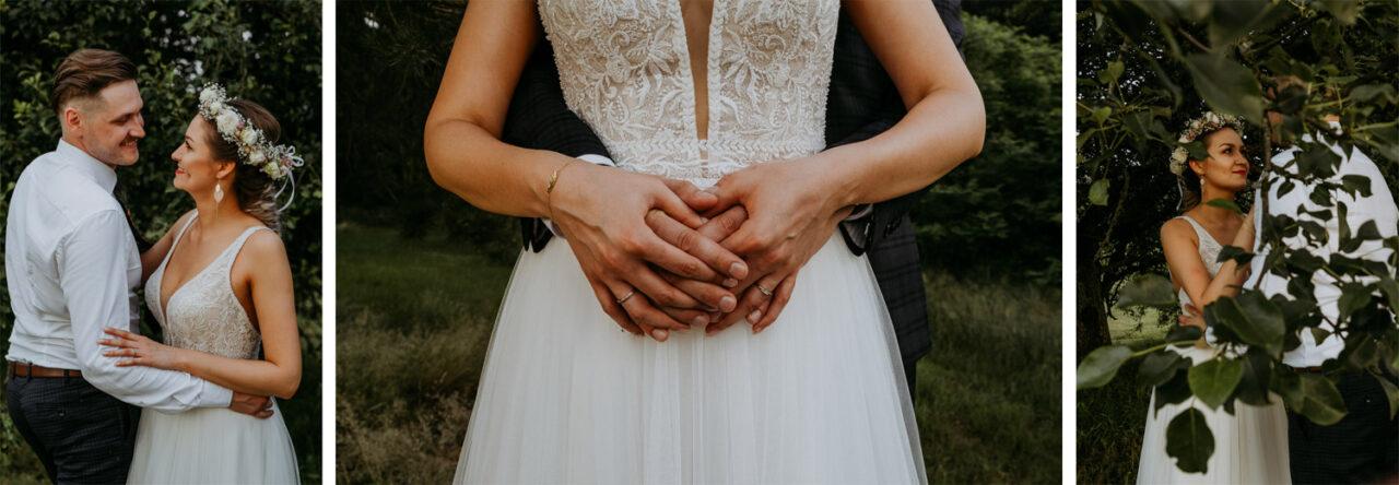mini sesja zdjęciowa młodej pary w dniu ślubu