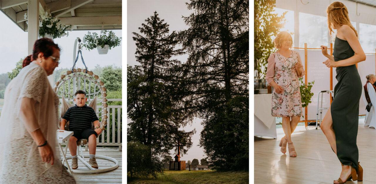weselni goście i las