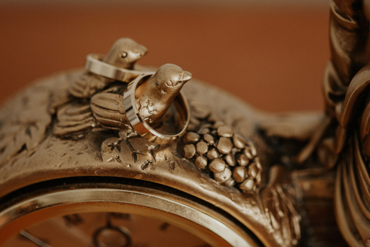 złote obrączki na figurkach ptaków