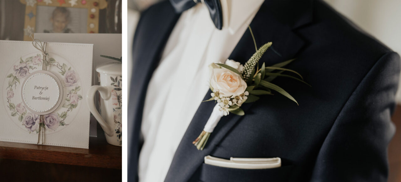 detale ślubne i strój pana młodego