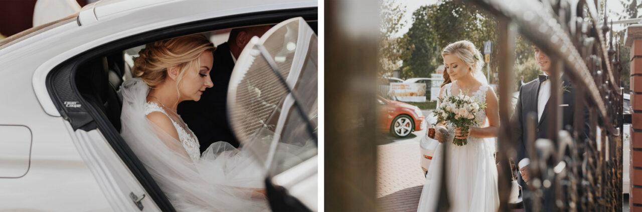 panna młoda w samochodzie ślubnym i przed kościołem