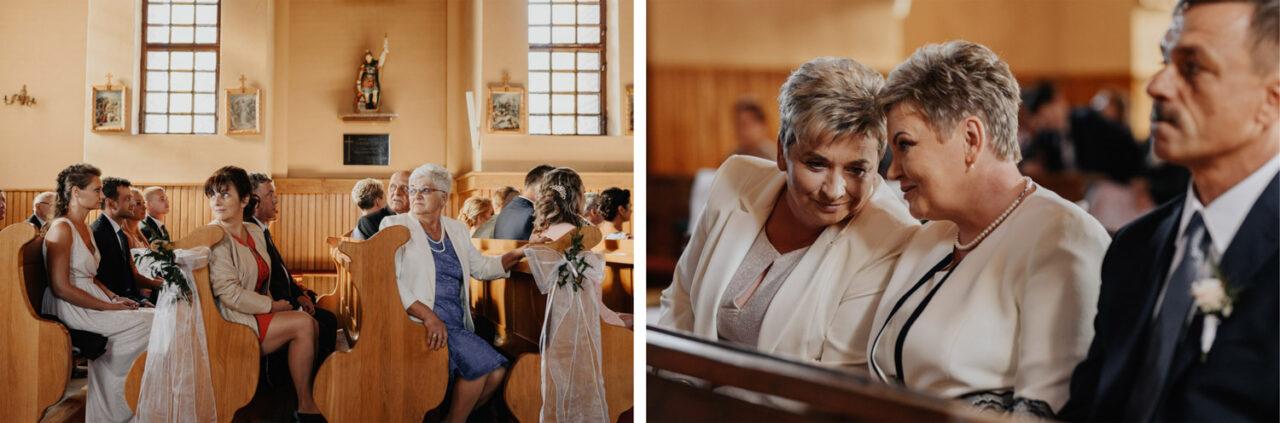 goście weselni w kościele