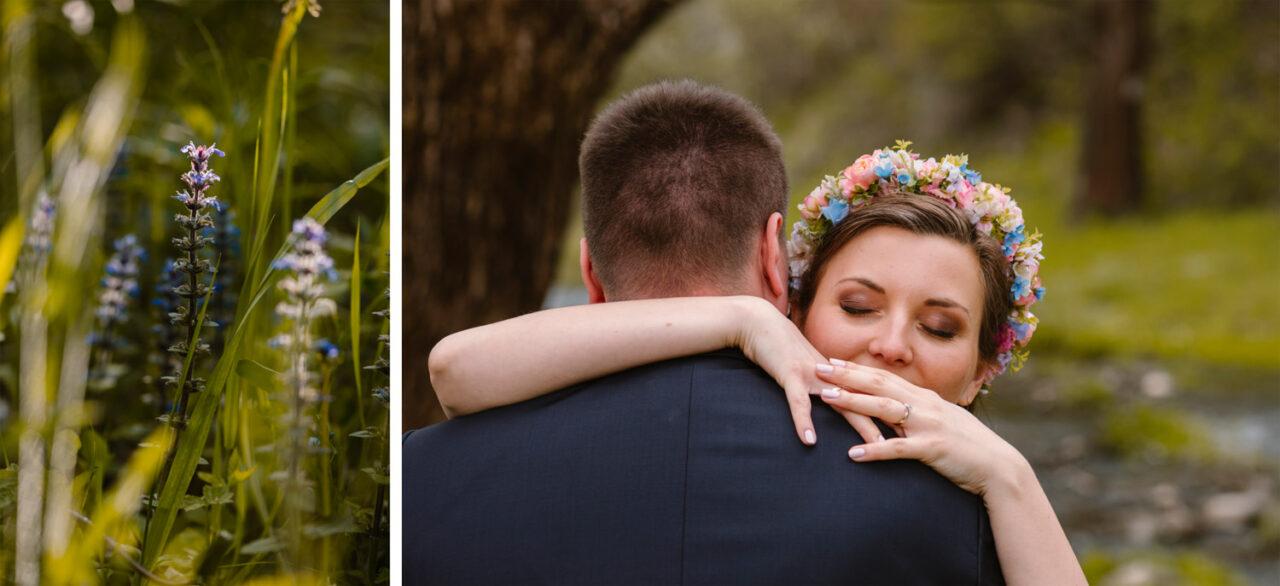 zdjęcia ślubne w Bieszczadach i twarz panny młodej