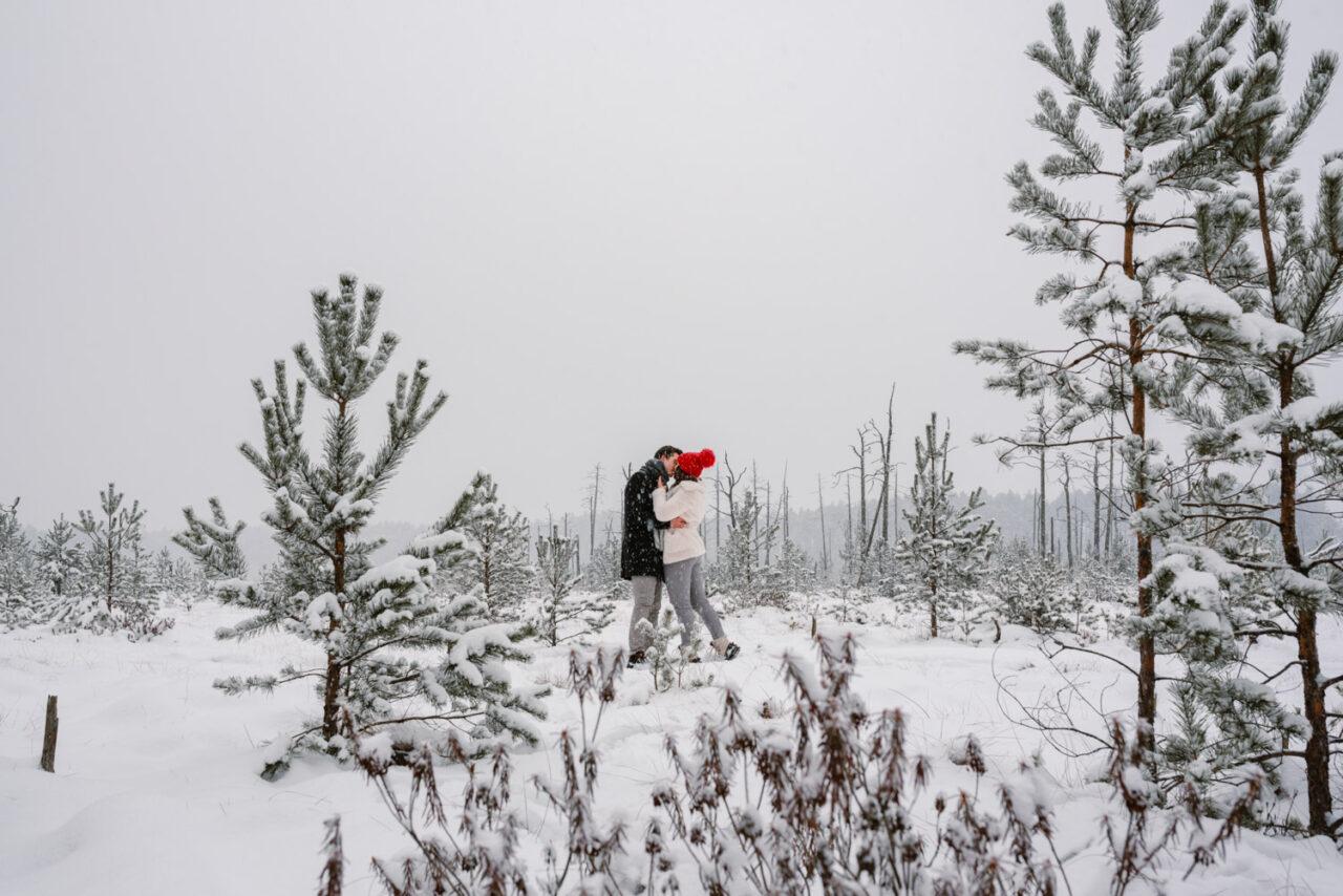 para zakochanych na tle śnieżnego krajobrazu bagien