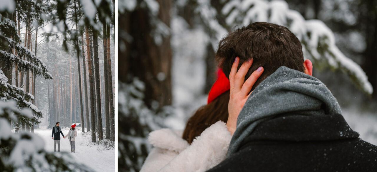 zimowa sesja zakochanej pary