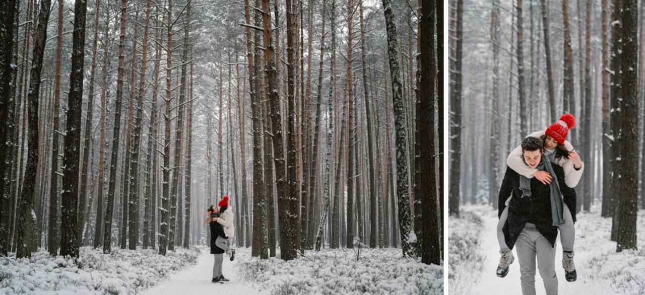 para zakochanych na tle śnieżnego krajobrazu leśnego