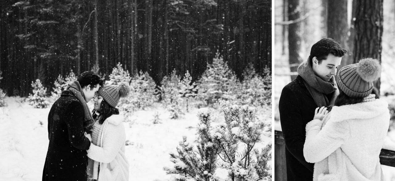 zimowa sesja dla pary zakochanych