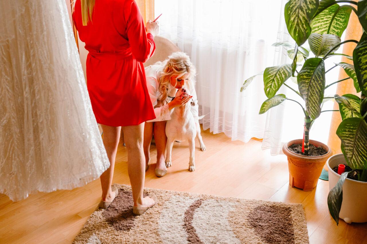 portret panny młodej z psem